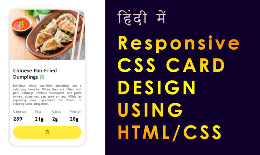Responsive CSS Card Design for Food App Using HTML/ CSS